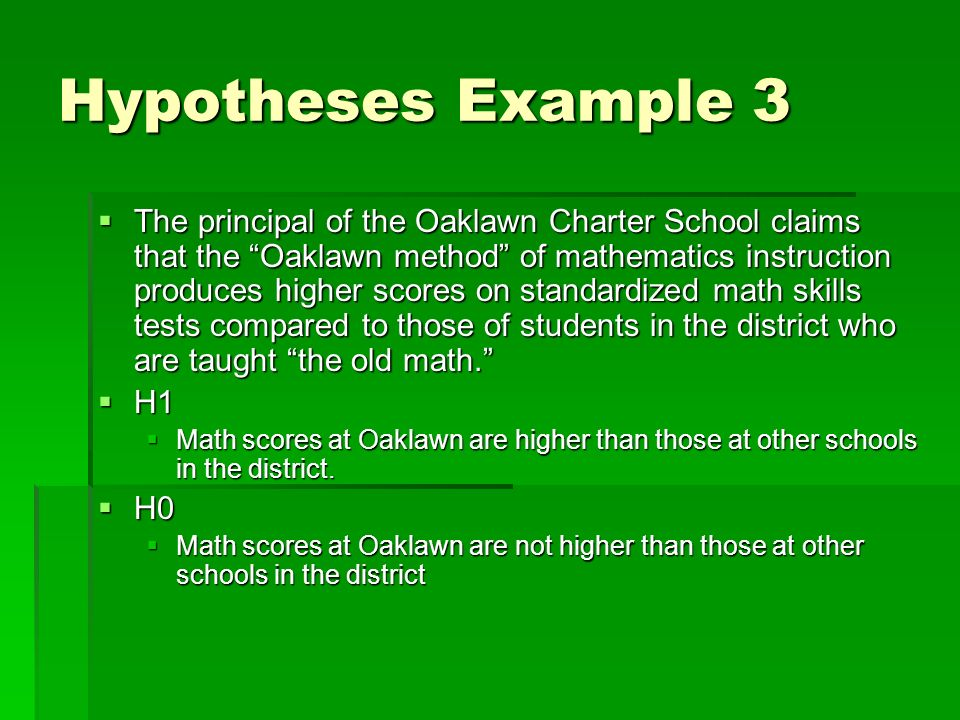 Hypotheses Example 3