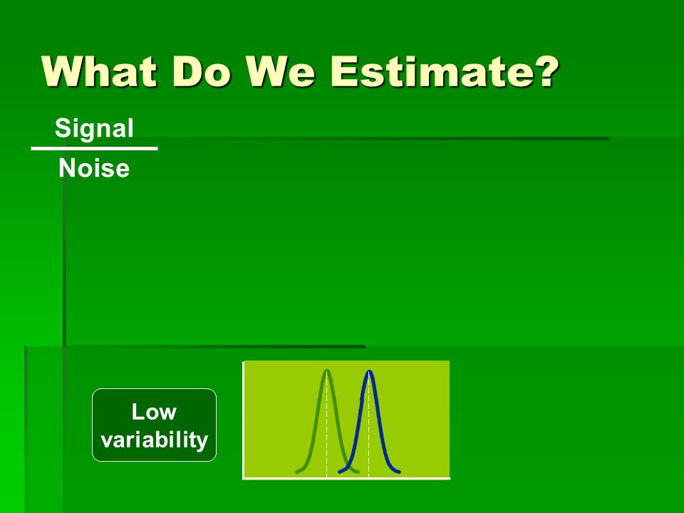 What Do We Estimate Signal Noise Low variability