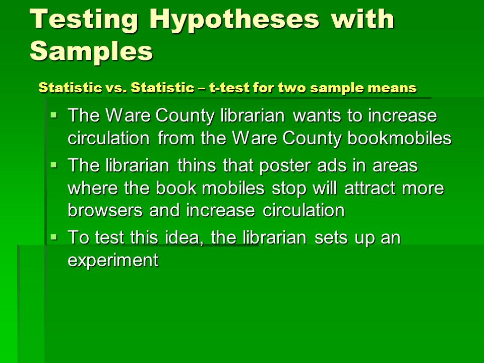 Testing Hypotheses with Samples Statistic vs