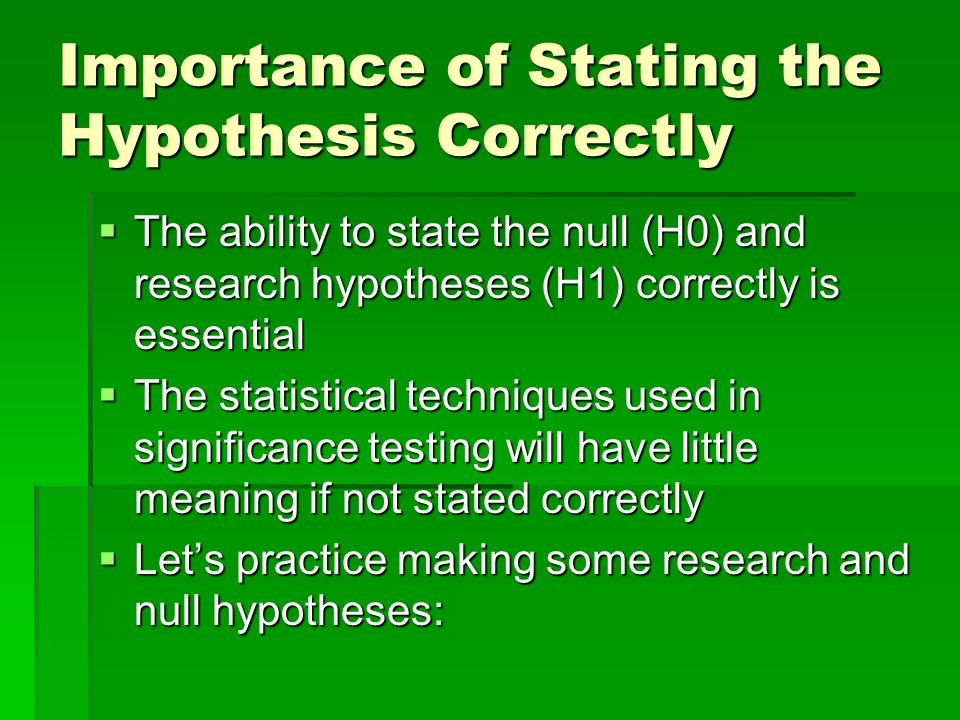 Importance of Stating the Hypothesis Correctly