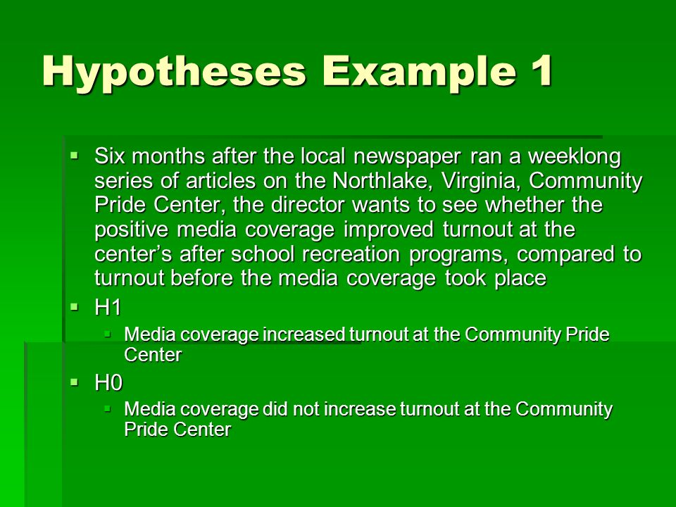 Hypotheses Example 1