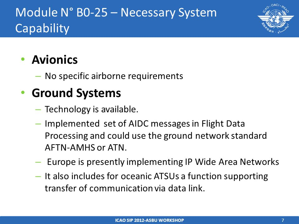 Module N° B0-25 – Necessary System Capability