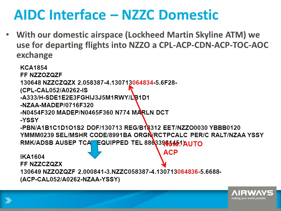 AIDC Interface – NZZC Domestic