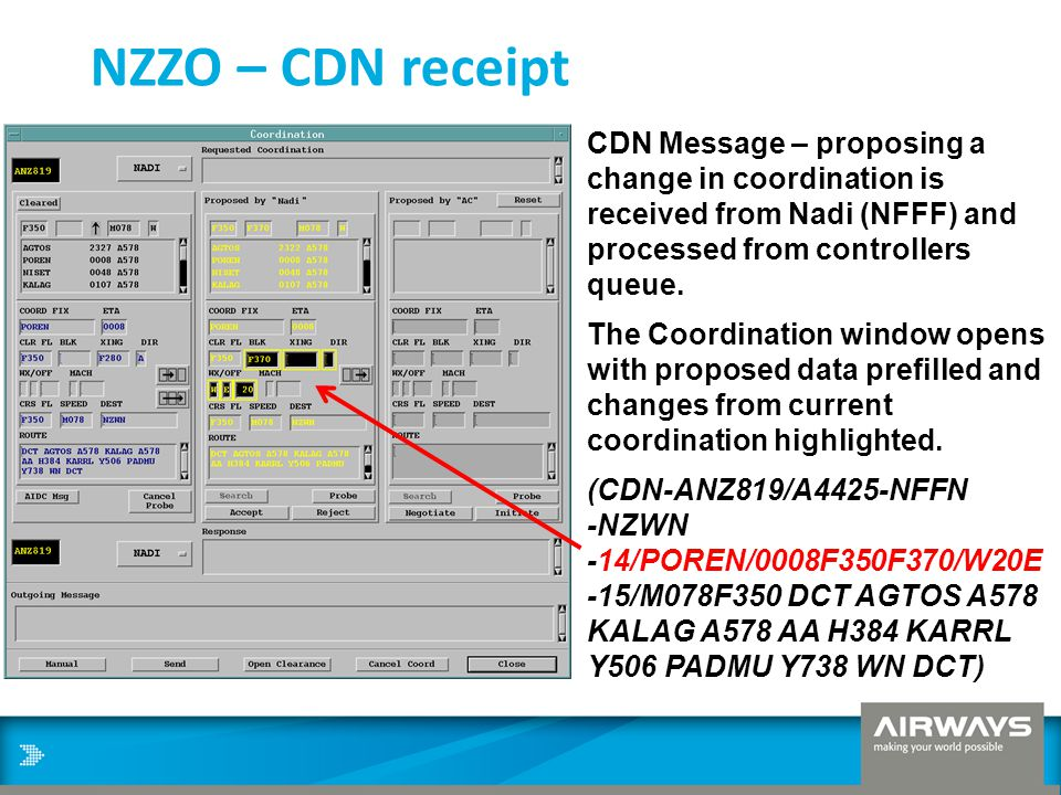 NZZO – CDN receipt CDN Message – proposing a change in coordination is received from Nadi (NFFF) and processed from controllers queue.