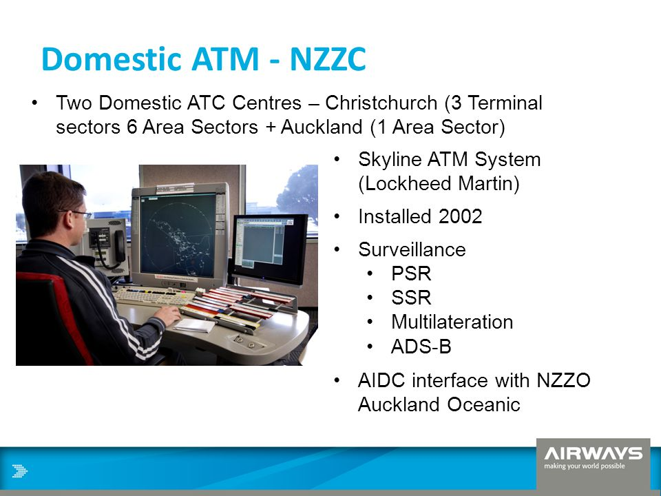 Domestic ATM - NZZC Two Domestic ATC Centres – Christchurch (3 Terminal sectors 6 Area Sectors + Auckland (1 Area Sector)