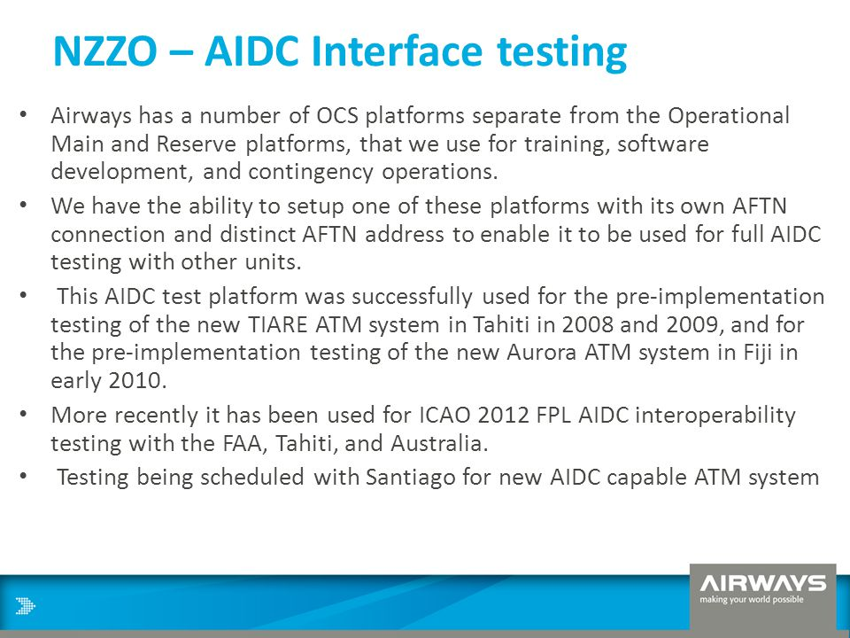 NZZO – AIDC Interface testing