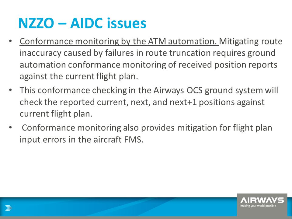NZZO – AIDC issues