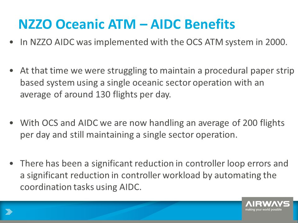 NZZO Oceanic ATM – AIDC Benefits