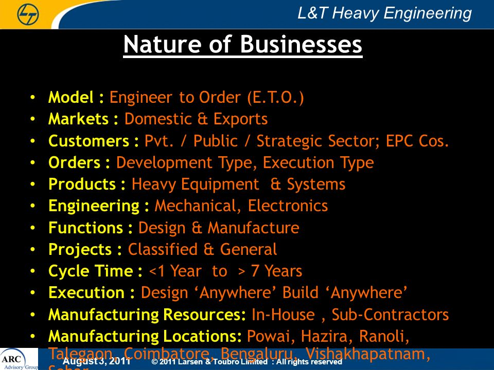 Nature of Businesses Model : Engineer to Order (E.T.O.)