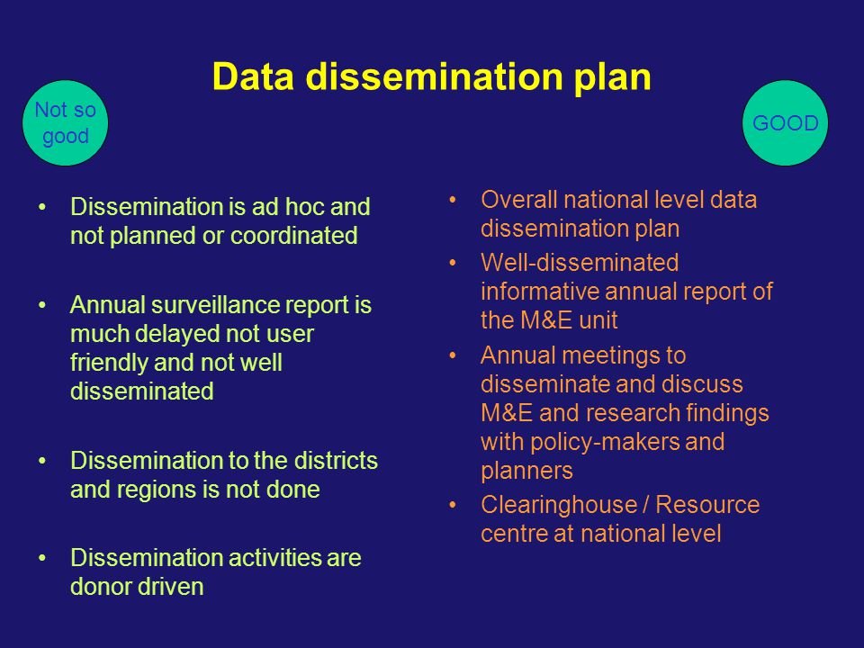Data dissemination plan