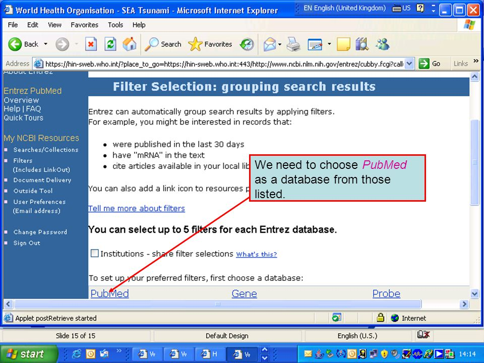 We need to choose PubMed as a database from those listed.