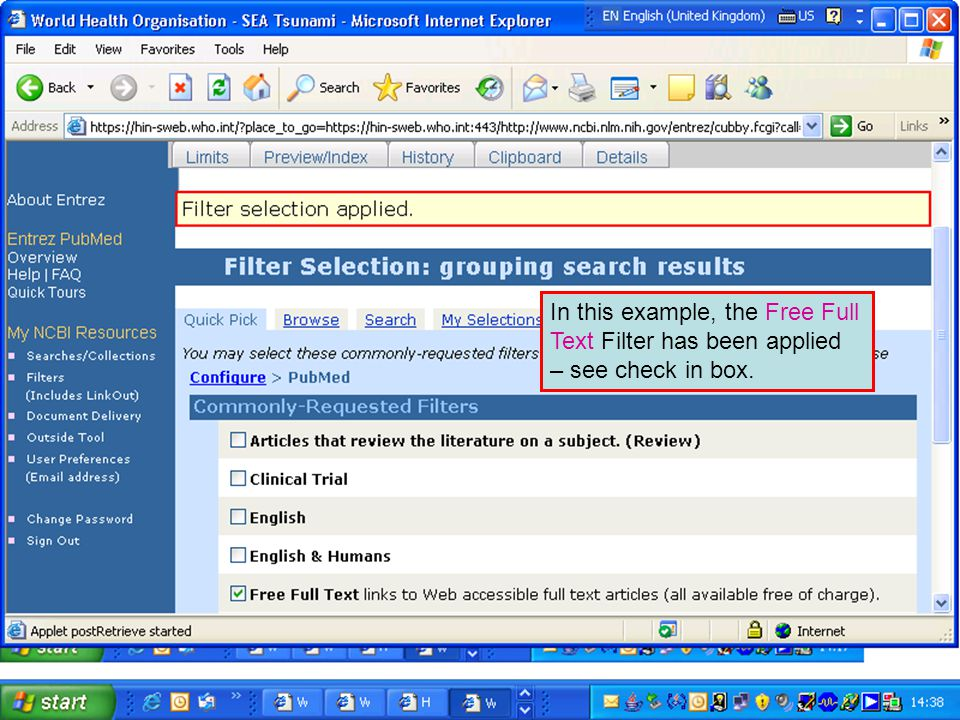 In this example, the Free Full Text Filter has been applied – see check in box.