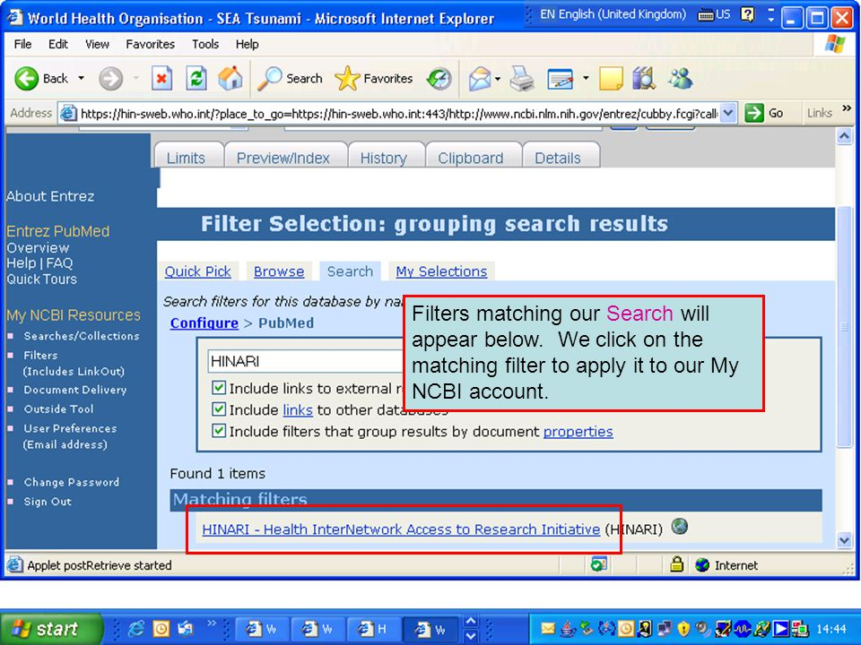 Filters matching our Search will appear below