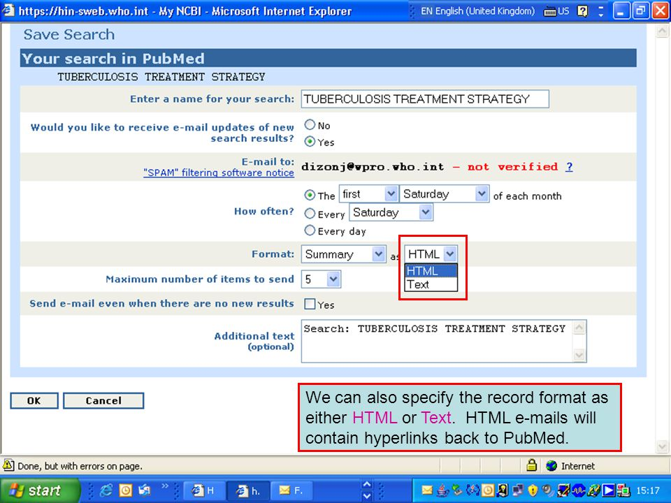 We can also specify the record format as either HTML or Text