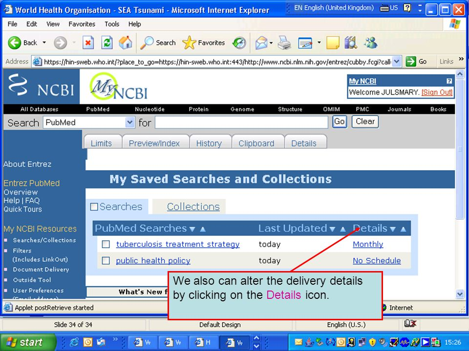 We also can alter the delivery details by clicking on the Details icon.