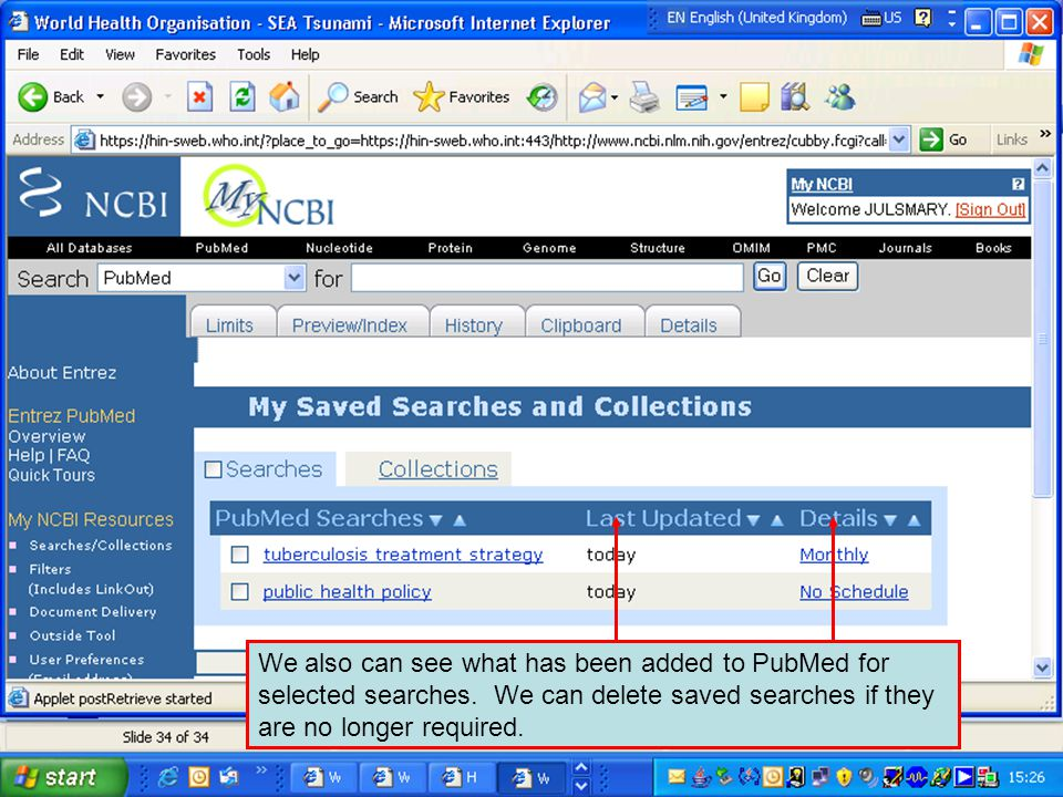 We also can see what has been added to PubMed for selected searches