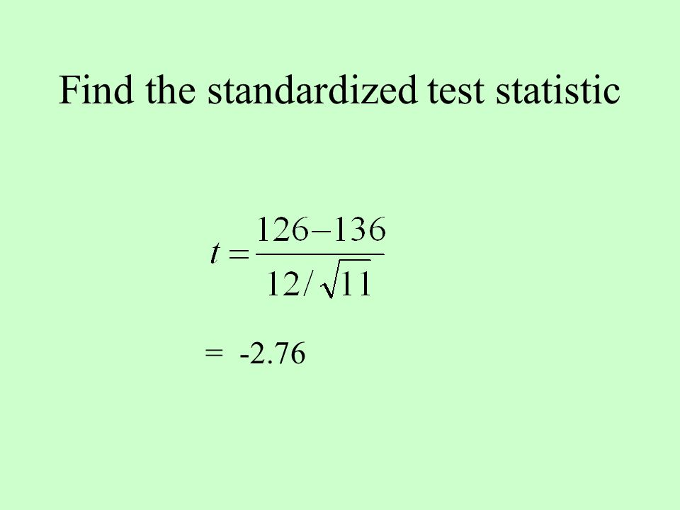 Find the standardized test statistic