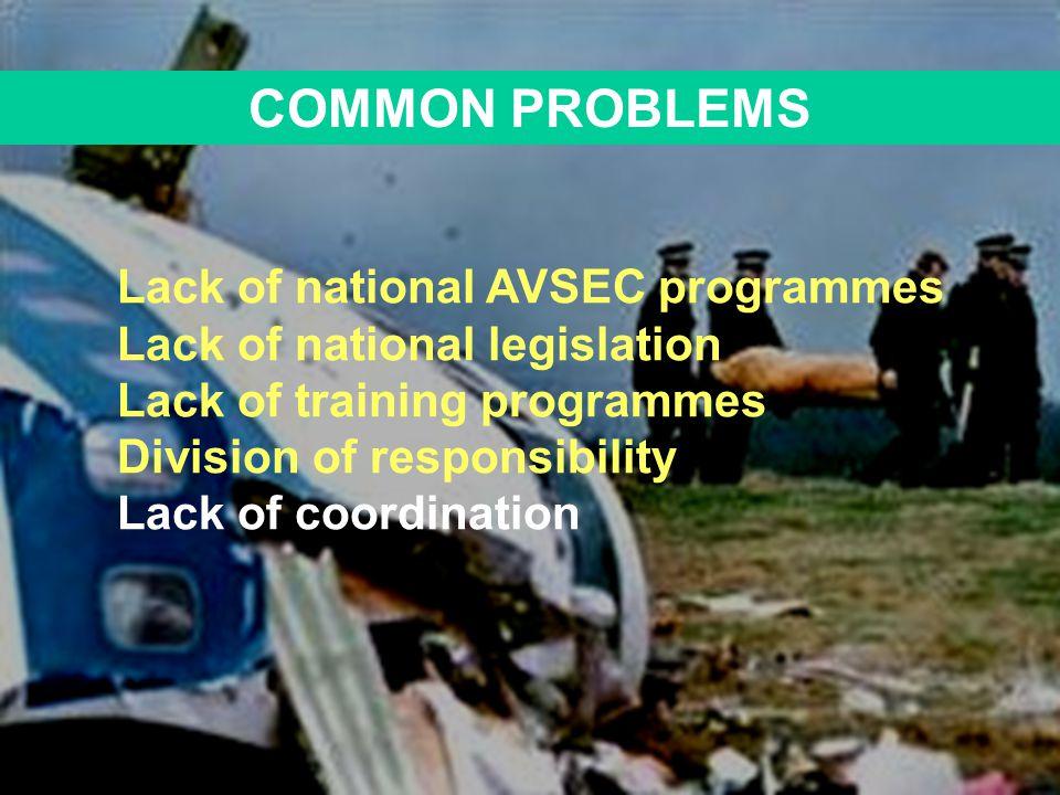 COMMON PROBLEMS Lack of national legislation