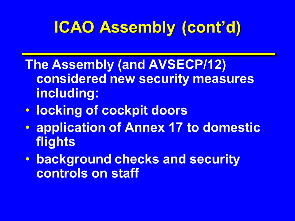 ICAO Assembly (cont'd)