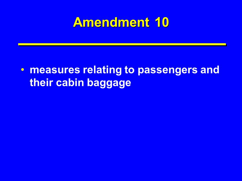 Amendment 10 measures relating to passengers and their cabin baggage