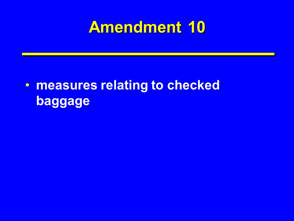 Amendment 10 measures relating to checked baggage