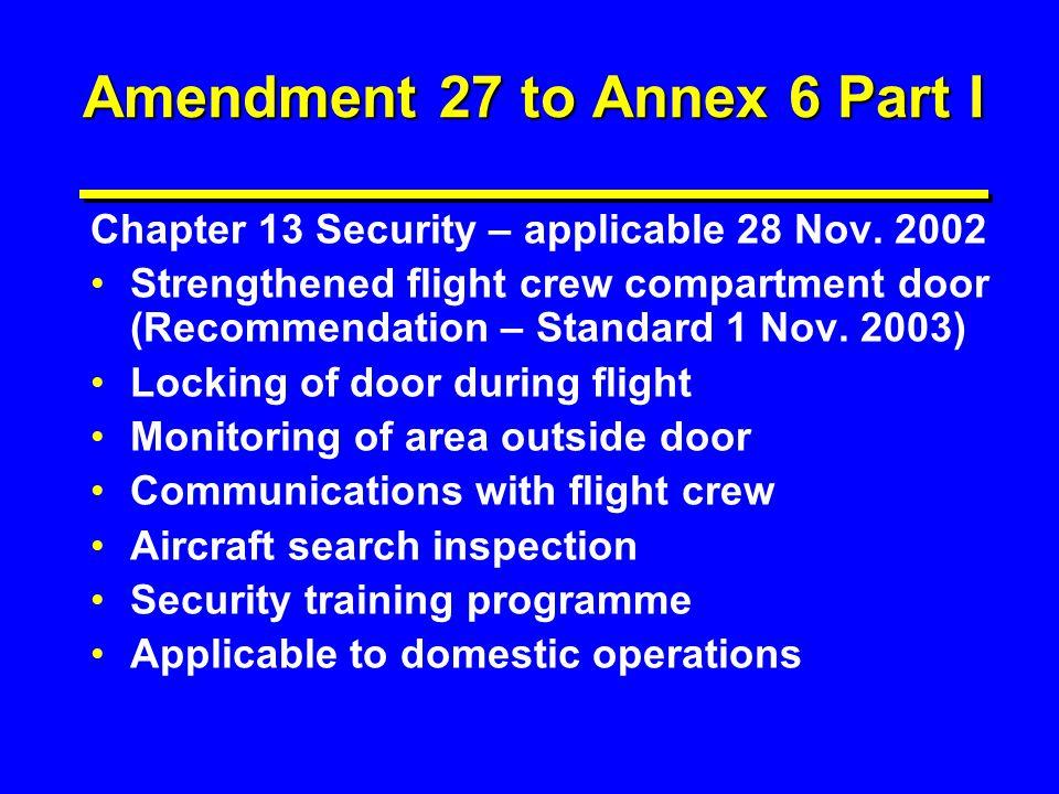 Amendment 27 to Annex 6 Part I