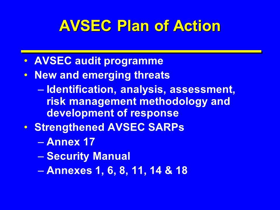 AVSEC Plan of Action AVSEC audit programme New and emerging threats