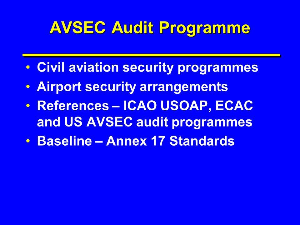 AVSEC Audit Programme Civil aviation security programmes