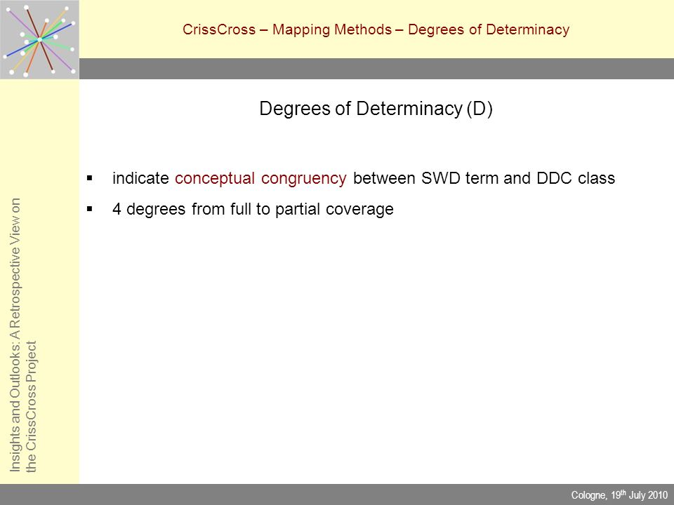 CrissCross – Mapping Methods – Degrees of Determinacy