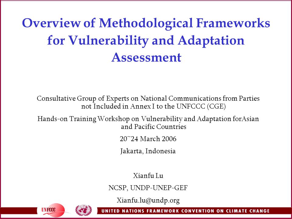 Overview of Methodological Frameworks for Vulnerability and Adaptation Assessment