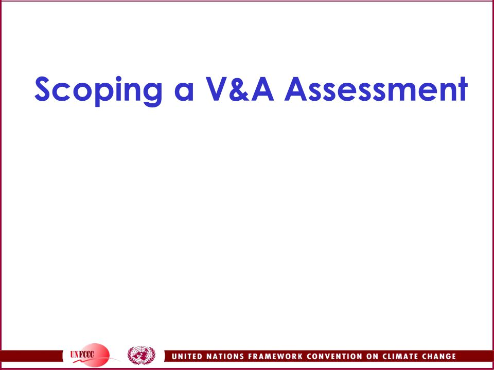Scoping a V&A Assessment