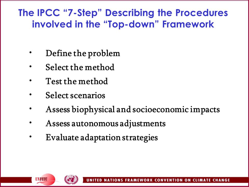 The IPCC 7-Step Describing the Procedures involved in the Top-down Framework