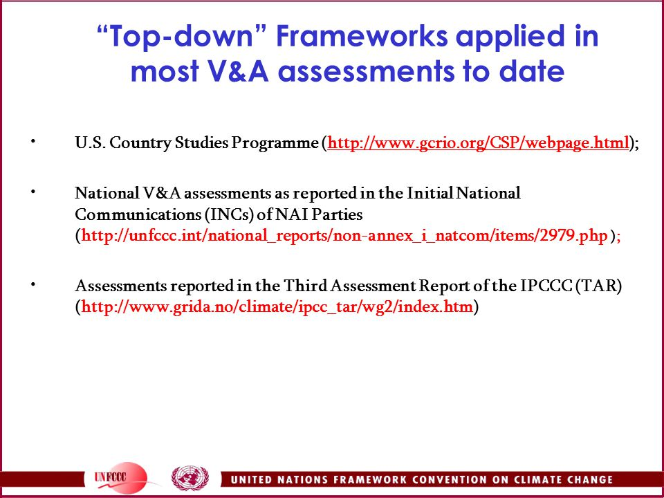 Top-down Frameworks applied in most V&A assessments to date