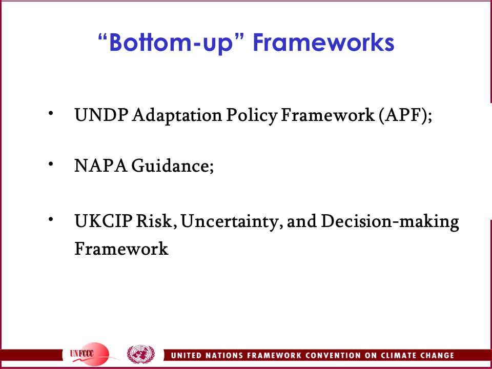 Bottom-up Frameworks