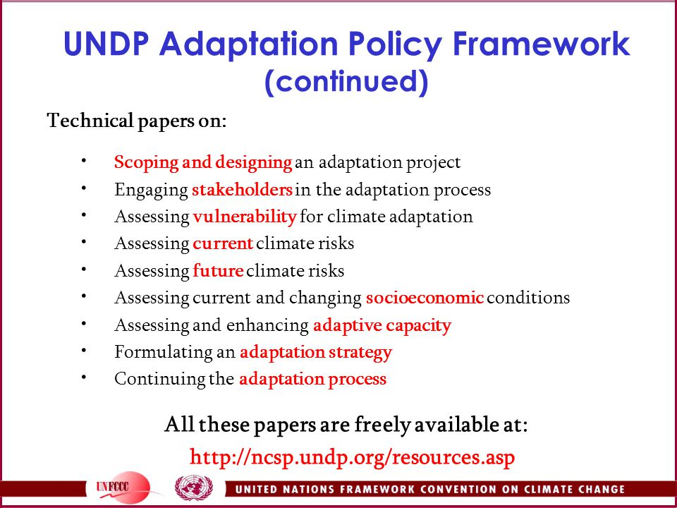 UNDP Adaptation Policy Framework (continued)