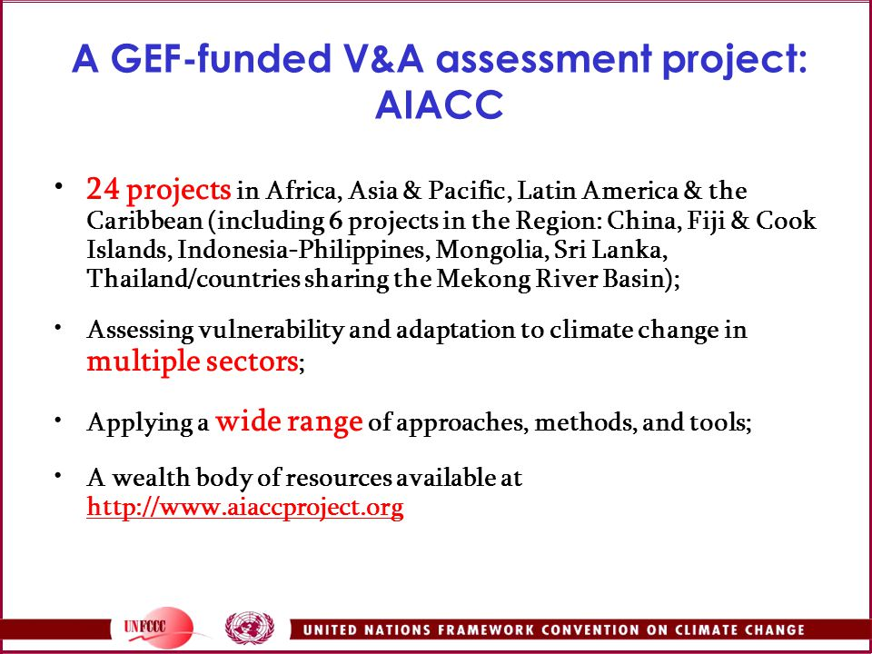 A GEF-funded V&A assessment project: AIACC