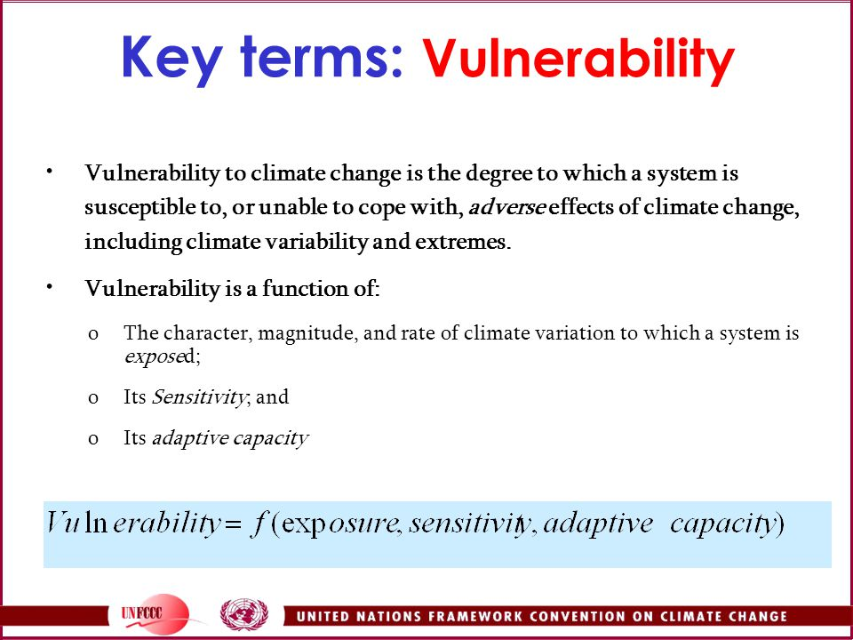 Key terms: Vulnerability