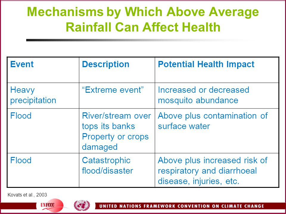 Mechanisms by Which Above Average Rainfall Can Affect Health