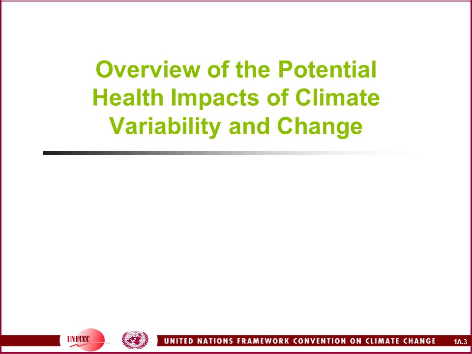 Overview of the Potential Health Impacts of Climate Variability and Change