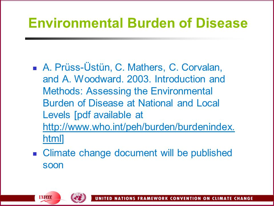 Environmental Burden of Disease