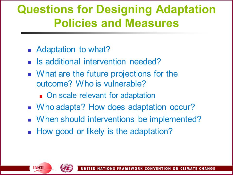 Questions for Designing Adaptation Policies and Measures