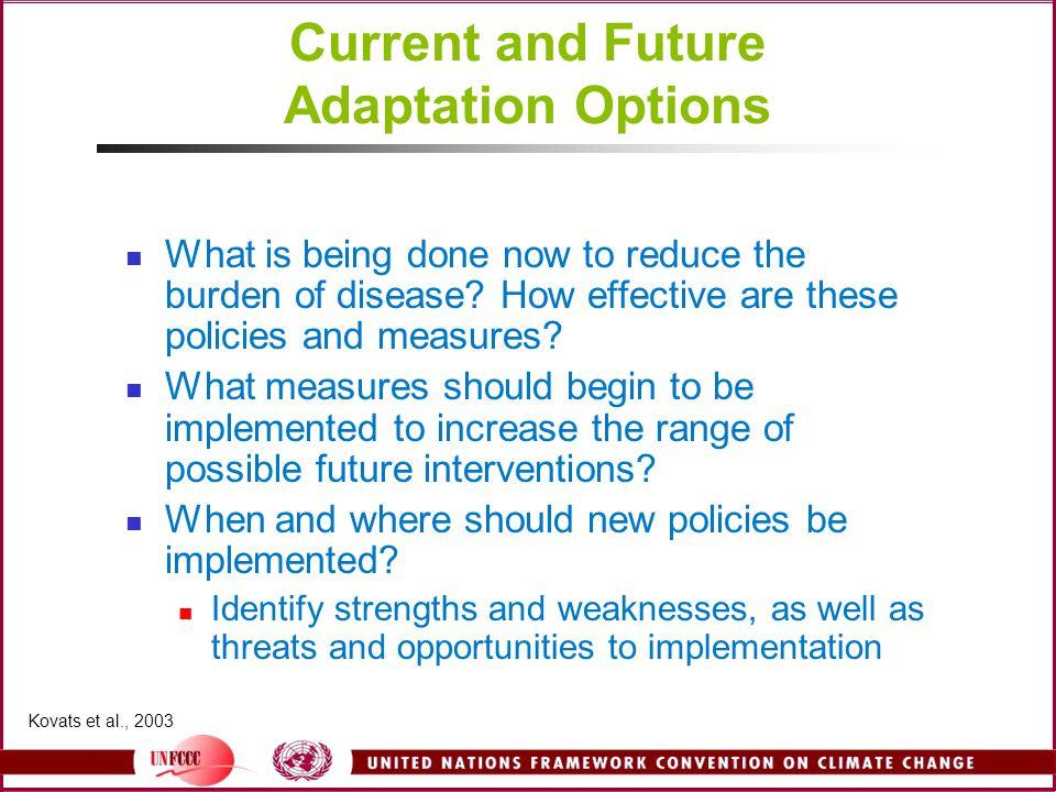 Current and Future Adaptation Options