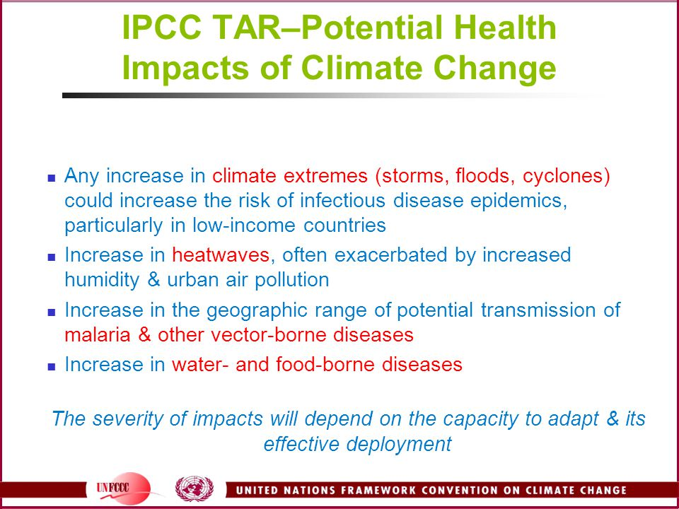 IPCC TAR–Potential Health Impacts of Climate Change