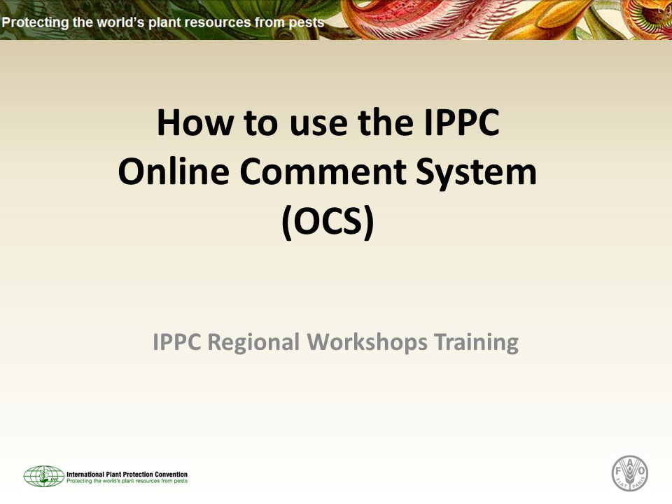 IPPC Regional Workshops Training