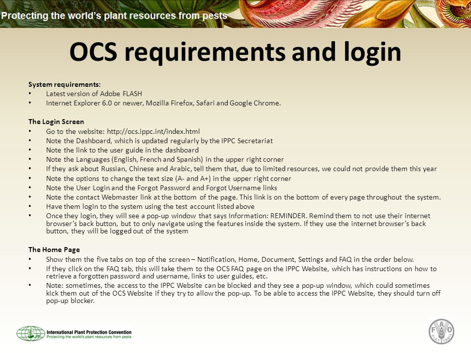 OCS requirements and login