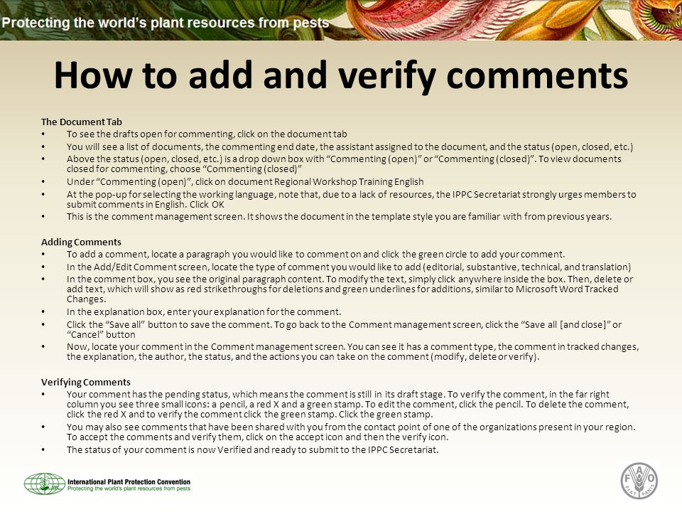 How to add and verify comments