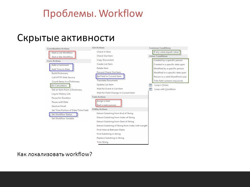 Проблемы. Workflow Скрытые активности Как локализовать workflow