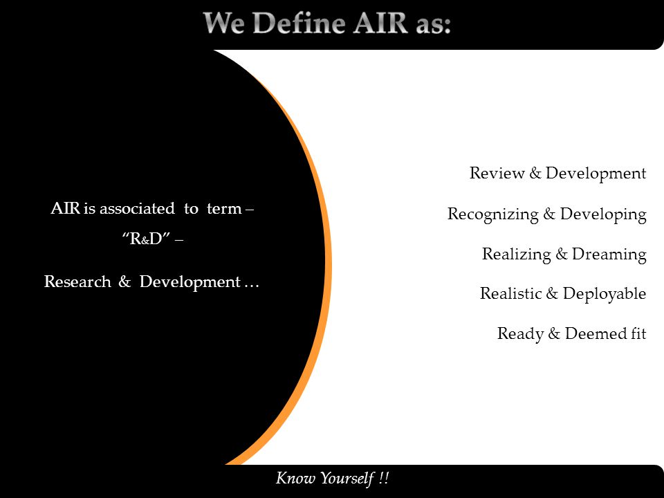 We Define AIR as: Review & Development Recognizing & Developing