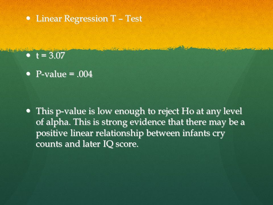 Linear Regression T – Test