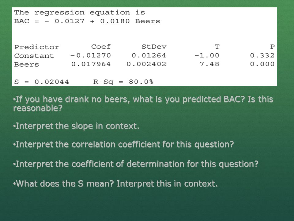 If you have drank no beers, what is you predicted BAC